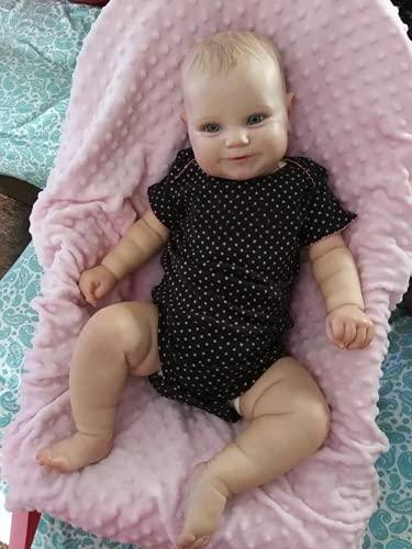 Muñeca Reborn de 50/60 CM con Dos Opciones, muñeca pequeña Real de Tacto Suave, Maddie con Pelo de Dibujo a Mano, muñeca Hecha a Mano (60cm)