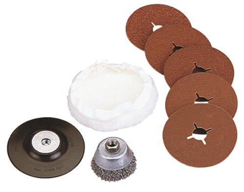Wolfcraft 2177000 Hobby-Sortiment für Winkelschleifer bestehend aus Drahtbürste, Schleifteller mit Schleifscheiben und Polierhaube