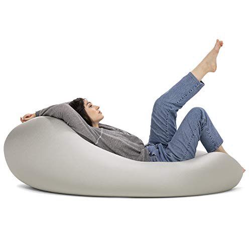 Jaxx Nimbus Spandex Bean Bag Chair for Adults-Furniture for Rec, Family Rooms and More, Large, Silver
