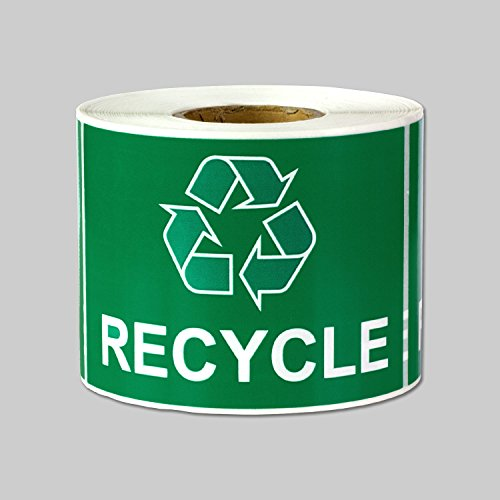 """Recycle Logo Recycling with Arrows Symbol Labels Self Adhesive Stickers (Green White / 3"""" x 2"""") - 300 labels per package"""