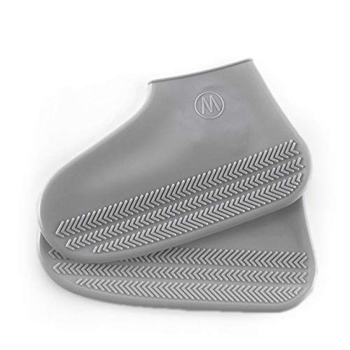 Zapatos Impermeables para Lluvia Cubren tamaño Grande 30-44 Caucho Tensión elástica Antideslizante otoño Mujer/Hombre Botas de Lluvia Cubre - Gris, L
