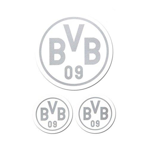 Borussia Dortmund BVB Aufkleber in Silber 3 Stück, Folie, 9 x 9 x 1 cm, 3-Einheiten