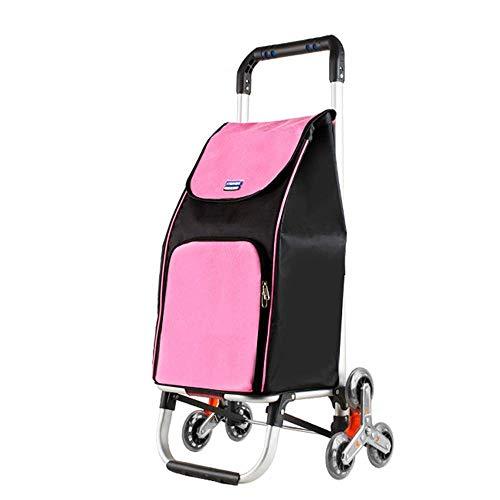 Life HS Tragbare Folding Einkaufswagen, Stair Climbing Car Trolley Werkzeugwagen Mit 6-Rad Abnehmbare Plane Tasche,Rosa