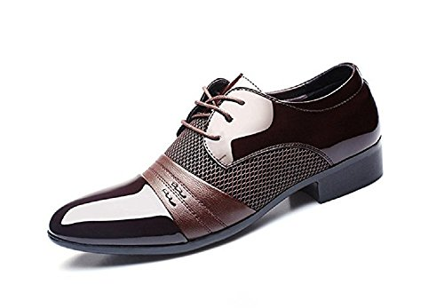 Zapatos Oxford Hombre, Cuero Derby Vestir Cordones Calzado Boda Brogue Verano Negocios Moda Uniforme , marron, 43 EU