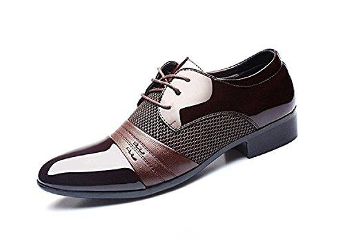 Anzugschuhe Herren Business Schuhe, Hochzeit Schnürhalbschuhe Oxford Anzug Leder Derby Männer Lackleder Lederschuhe Elegant Schwarz Braun 38-48 BR42