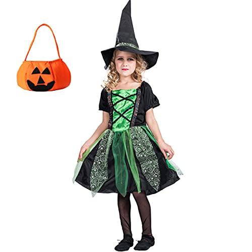 SHIHUAN Niñas Disfraz De Carnaval, Disfraz Halloween para Niñas 3 A 12 Años, Disfaces De Bruja Vestido Y Accesorios Chicas para Halloween Carnaval Fiesta Cosplay,Verde,L