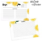 Outshine 104 Pack Bulk Recipe Cards for Recipe Box | Lemon Orange Slice 100 4x6 Blank Recipe Cards and 4 Dividers | Double Sided Thick Card Stock Wont Smear (Fruit) 4 slice Mar, 2021