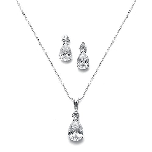 Mariell Elegant Pear-Shaped Cubic Zirconia Wedding Necklace & Earrings Set for Brides & Bridesmaids