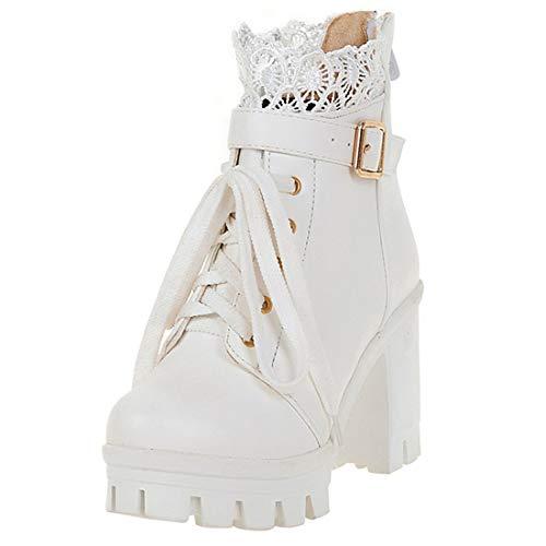 High Heels Ankle Boots Plateau Stiefeletten mit Blockabsatz Schnürung und 10cm Absatz Winter Schuhe (Weiße,41)