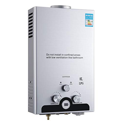 Z ZELUS 8L Calentador de Agua LPG Calentador de Agua Instantaneo 16KW Calentador de Agua de Gas Licuado de Petroleo sin Tanque (8L)