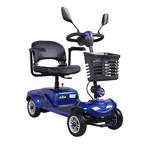 Elektrische scooter met zitting, 4 wielen, voor gehandicapten, 8 km/u, achteruitkijkspiegel, LED-koplamp, compact, kleur blauw