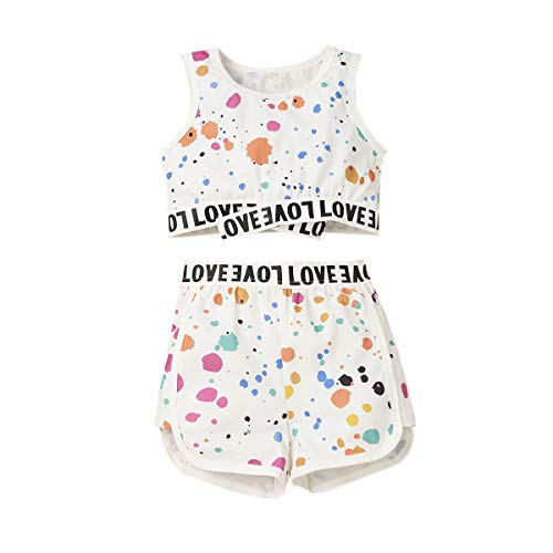 Newbron Baby Girls Clothes Tie Dye Letter Print Sling Strap Crop Top+Patchwork Elastic Waist Shorts 2PCS Pants Set (White, 2-3 Years)