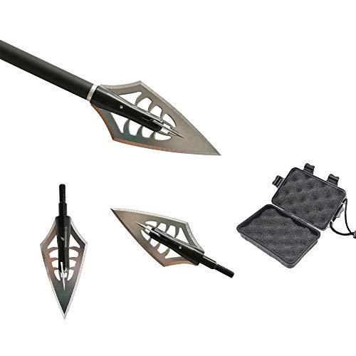 ZSHJGJR 6pcs Tiro con Arco Puntas de Flecha Caza de 160 Grano Flechas Broadheads Cuchillas Tiro con Arco Flechas Cabezas para Ballesta y Arco Compuesto (Tipo 2 + Caja)