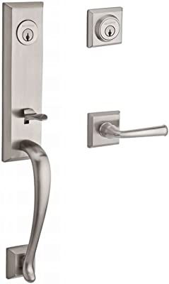 Home Improvement Baldwin DCDELXCURRTSR150 Reserve Double Cylinder Handleset Del Mar x Curve with Traditional Square Rose Satin Nickel Finish Right Hand Top Notch Distributors Inc.