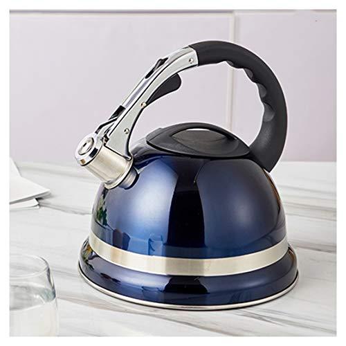 Tetera 304 acero inoxidable Hervidor Royal Blue Whistling Kettle 3.5L grande for el hogar Oficina restaurantes, tetera Cocina de quemadores cocina de inducción del silbido de la caldera, anti-