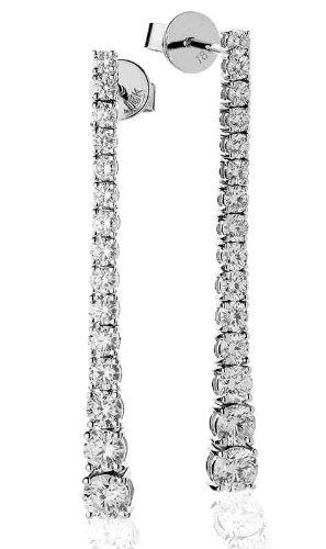 2,30g/VS2certificato ct taglio brillante rotondo Claw Set con diamanti orecchini pendenti in oro bianco 18K