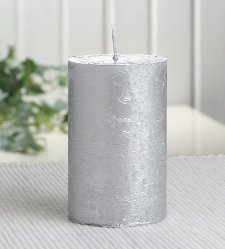 Rustik-Stumpenkerze, 8 x 5 cm Ø, silber-metallic