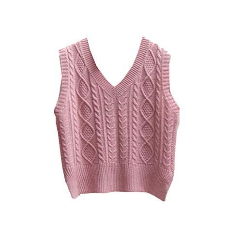 Otoño Mujer suéter Corto de Punto Suelto sin Mangas Chaleco de Mujer con Cuello en V Jersey Tops Chaleco Femenino Pink Vest S
