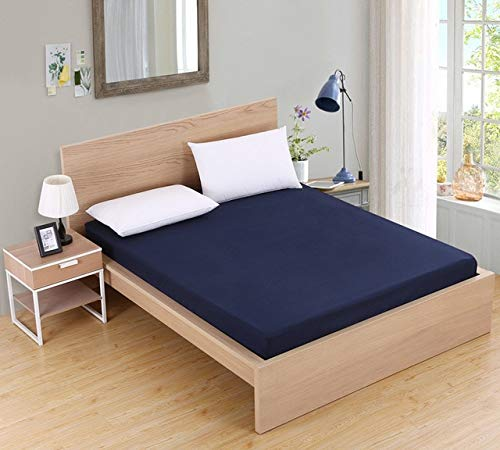 Solid Color Fitted Sheet Mattress Cover Bed Linen With Elastic Band Mattress Protector Pad Polyester King Size Bedding Set 90x200cm Navy Blue