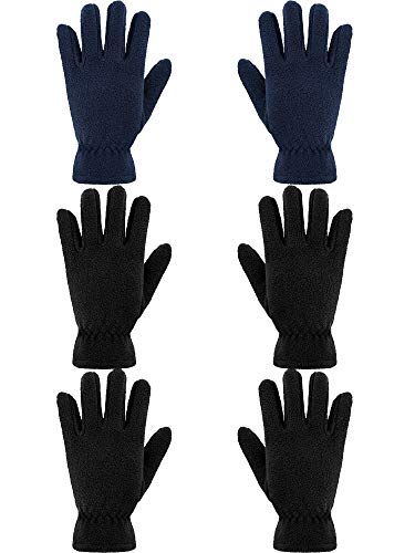SATINIOR 3 Paar Kinder Fleece Handschuhe Winter Weiche warme Handschuhe für Jungen Outdoor Aktivitäten (Schwarz, Marine, 8-12 Jahre)