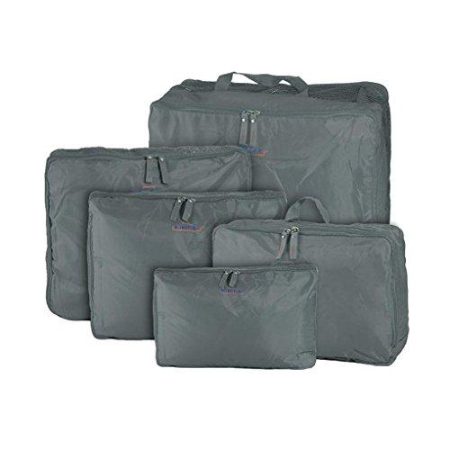 Greenery - Set di borse da viaggio cubiche impermeabili, 5 unità, colore: Grigio