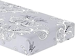 TIKAMI Stretch Cushion Cover Printed Cushion Slipcover Replacement Furniture Protector for Sofa Cushion 3 Seater (Grey)