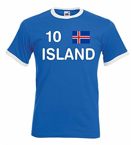 World-of-Shirt Herren Retro T-Shirt Island EM 2016 Trikot Nr.10|blau-M