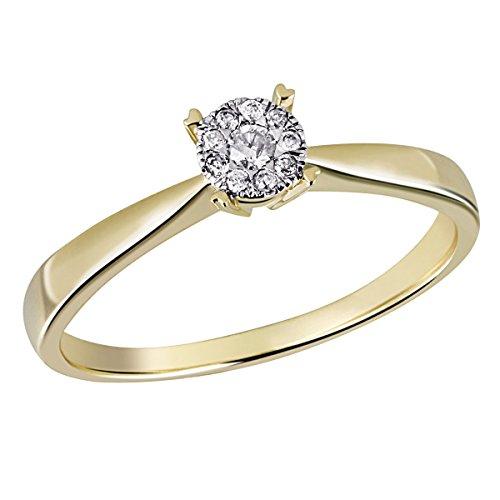 Goldmaid Damen-Ring Glamour 585 Gelbgold 10 Diamanten 0,10 ct. Gr. 54 Pa R5017GG54 Brillanten Diamantring Verlobung