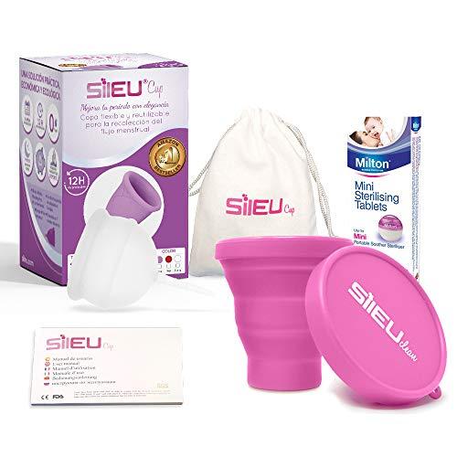 Copa Menstrual Sileu Cup Bell - 12 horas de protección sin fugas y pérdidas - Talla S Transparente + Esterilizador Plegable al azar + 50 Pastillas Esterilizadoras Mini Milton