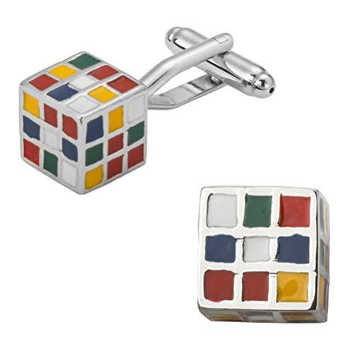 Gemelos Para Hombres, Cubo De Rubik Colorida Plaza Cobre Encanto Francés Botones De Puño, Brillante Regalo Camiseta Elegante Accesorio Para Contador Jefe Negocio Prom Boda Una Ocasión Formal