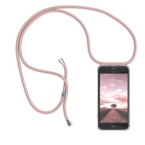 EAZY CASE Handykette kompatibel mit iPhone 6 / 6S Handyhülle mit Umhängeband, Handykordel mit Schutzhülle, Silikonhülle, Hülle mit Band, Stylische Kette mit Hülle für Smartphone, Rosé-Gold