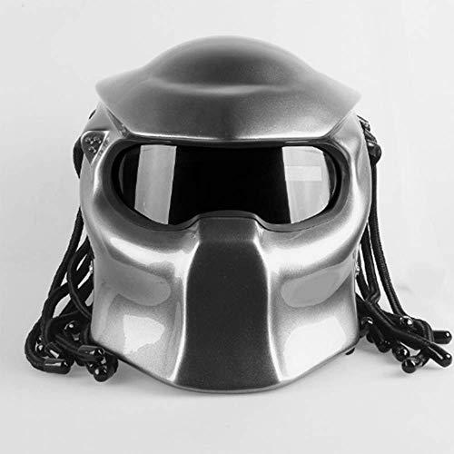 WLJBY Motorrad Iron Blood Warrior HelmHarley Riding Vollgesichts-DOT-Sicherheitszertifizierung Persönlichkeit Skorpion-Maske Langlauf mit Zopf und LED-Lichthelm...