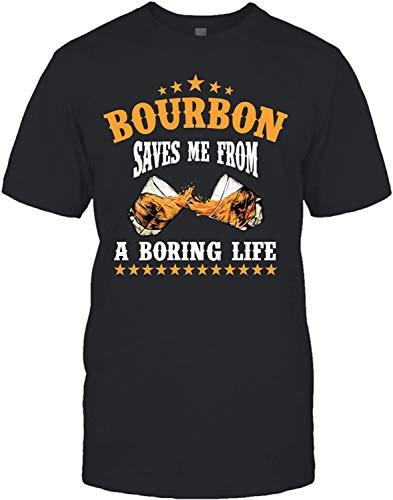 LIONMODE Uomo Bourbon Saves Me from A Boring Life Maglietta Casual a Maniche Corte Nero