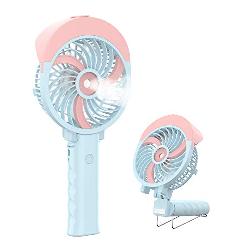 HandFan Portable Misting Fan, 55ml Large Water Tank, Rechargeable Handheld Personal Mister Fan, Battery Operated Water Spray Mist Fan, 180°Foldable, for Travel, Camping, Outdoors, Makeup(Pink)