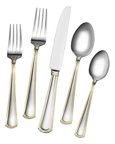 Gourmet Basics by Mikasa 5189120 Universal Gold 20-Piece Stainless Steel Flaware Set, Service for 4