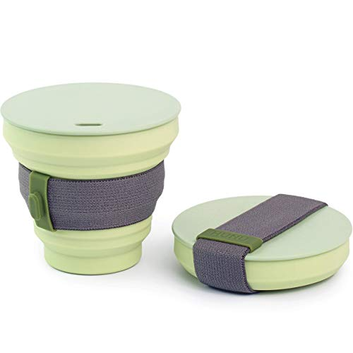 HUNU Leakproof Pocket Cup Collapsible Coffee Cup   Reusable Coffee Cup Travel Mugs for Hiking Cycling Camping - BPA Free Portable Espresso Silicone Cups with Lids - 9 oz (Sage Green)