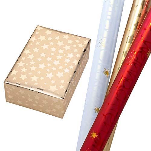 Geschenkpapier Weihnachten Set 3 Rollen (75 x 150 cm), Weihnachtsschrift in Metallic-Rot + Perlglanz-Weiß (mit Rückseite) und Sterne in Metallic-Gold. Für Geburtstag, Weihnachtsgeschenkpapier.