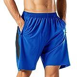Pantalones Cortos Deportivos para Hombre Transpirable Secado Rapido para Running Fitness Gym(Azul L)