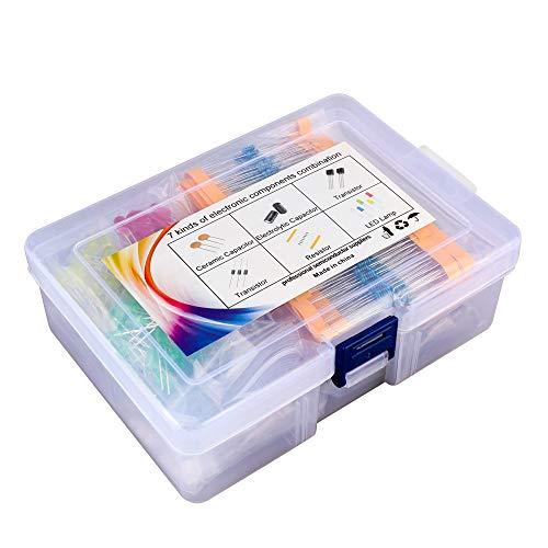 DesignSter de componentes electrónicos Kit Surtido (Total 1200 PCS), LED, Tramsistor, Metal Film resistencias, condensadores electrolíticos de aluminio, condensadores cerámicos