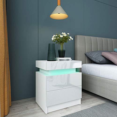 Nachttisch Weiß Hochglanz Nachttschrank Nachtkommode mit LED Beleuchtung Nachtkonsole Schubladenkommode Großraumschrank mit 2 Schubladen für Schlafzimmer, 45 x 35,3 x 53,5 cm