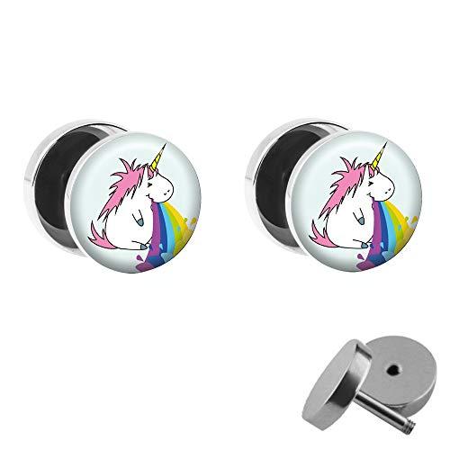 Treuheld® | Set - Kotzendes Einhorn mit Regenbogen - 2 Ohrstecker zum Schrauben mit Unicorn und Rainbow - Bunte Fake-Plugs mit kleinem Pony - Ø 10mm - Ohrringe Fakeplug - Edel-Stahl Ohrring mit Motiv