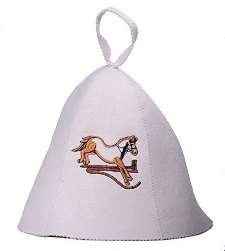 GMMH ® Saunahut 'Pferd' (1104) Saunamütze Saunakappe Filzkappe Filzhut aus 100{5141b95fe2ddb8c8548bc06593877ee8e89cce0034c91fc47733fef0f00defeb} Filz Hut Kappe für Sauna