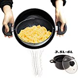 TV Cooking Pot Strainer Basket Always Stays Upright,3.5L-6L,Large Induction Pan with Non-Slip Stay...