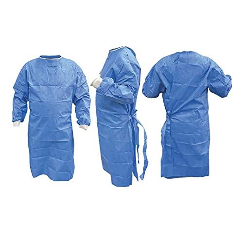Camice Chirurgico di Categoria I, Certificato EN ISO 13795-1:2019, Colore Azzurro - idrorepellente con polsini in stoffa elastica - chiusura posteriore - TNT 40 gr - Taglia XL (CONFEZIONE 10 PEZZI)