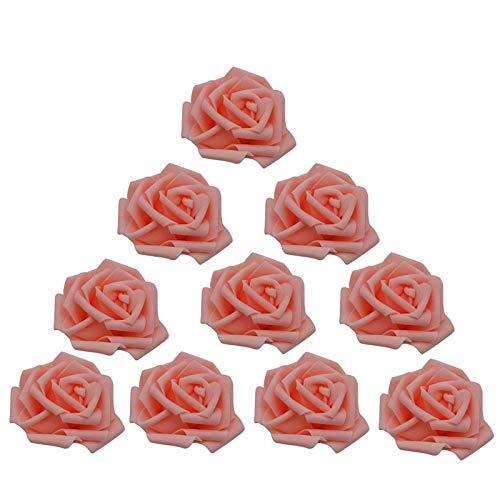 Fake Flower 30pcs Artificial 8cm decoración de la Boda de la Bola de Espuma PE Jefes de Flor de Rose Boda Partido del Ramo Decorativo del hogar de la Guirnalda de la Flor de DIY (Color : Peach)