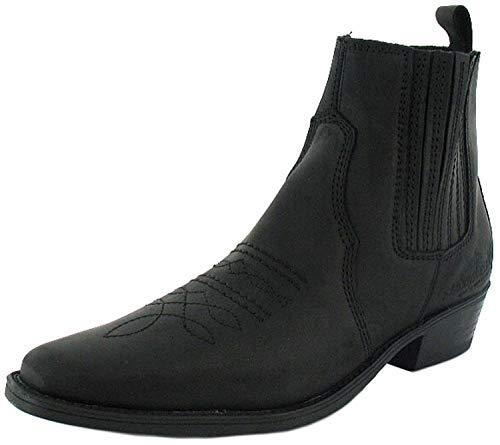Wrangler - Herren Leder Cowboy Stiefel Zum Hineinschlüpfen - Schwarz Gr. EU 41-46 - Schwarz, 46