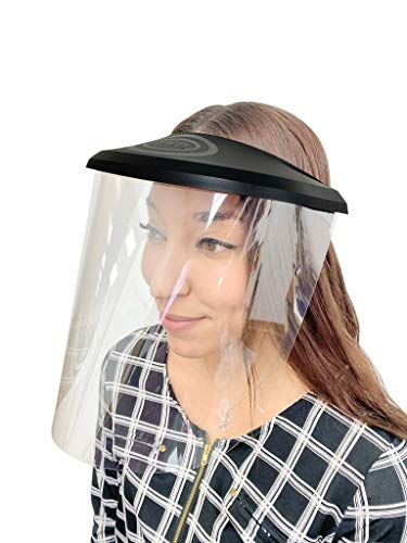 PEP Face Shield - w/ 3 Pack Of Reusable Shields. UV Coated-Anti Fog, Adjustable Size for Kids to Adults, Full Face Protection, Long Lasting visor, Indoor and Outdoor Use Made In USA (BLACK)