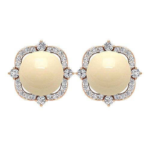 Pendientes de perlas cultivadas japonesas de 5,28 CT con halo de diamante, orotornillo hacia atrás