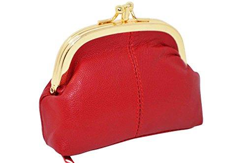KARL LOVEN Monedero para Mujer en Piel de Cordero - Modelo Retro Vintage - 3 Compartimentos - Cierre Clic-Clac - Monedero para Monedas, Billetes y Tarjetas de crédito Rojo