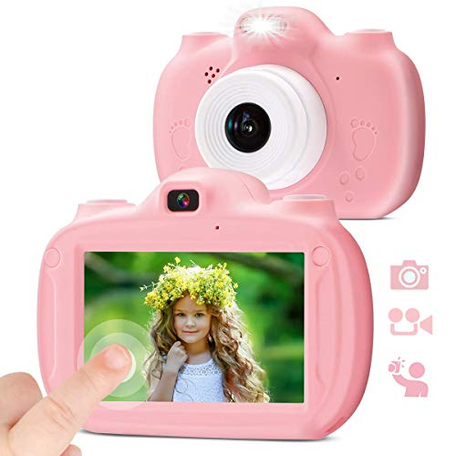 """28 MP Kids Digital Camera Dual, 3.0"""" IPS HD 1080P Touch Screen Rechargeable Toys for Boys Girls Age 3-9, Video Selfie Camera with 32GB SD Card Camcorder Toddler Gift for 3 4 5 6 7 8 9 Years old-Pink"""
